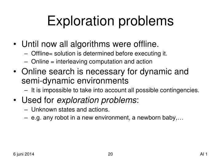 Exploration problems