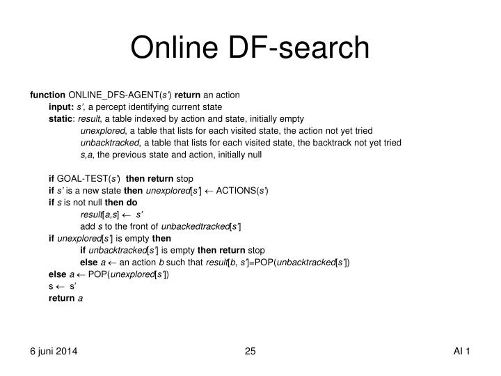 Online DF-search