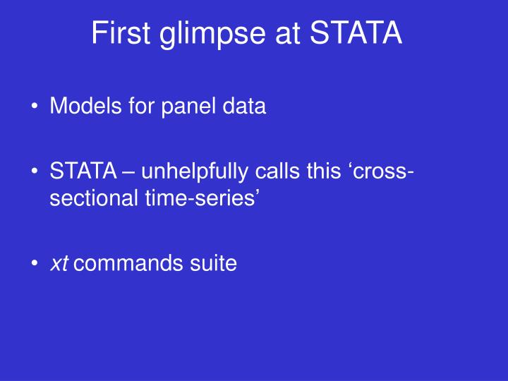 First glimpse at STATA
