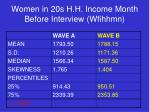 women in 20s h h income month before interview wfihhmn