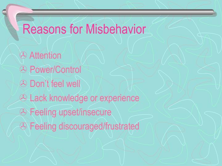 Reasons for Misbehavior