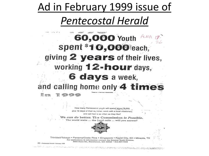 Ad in February 1999 issue of