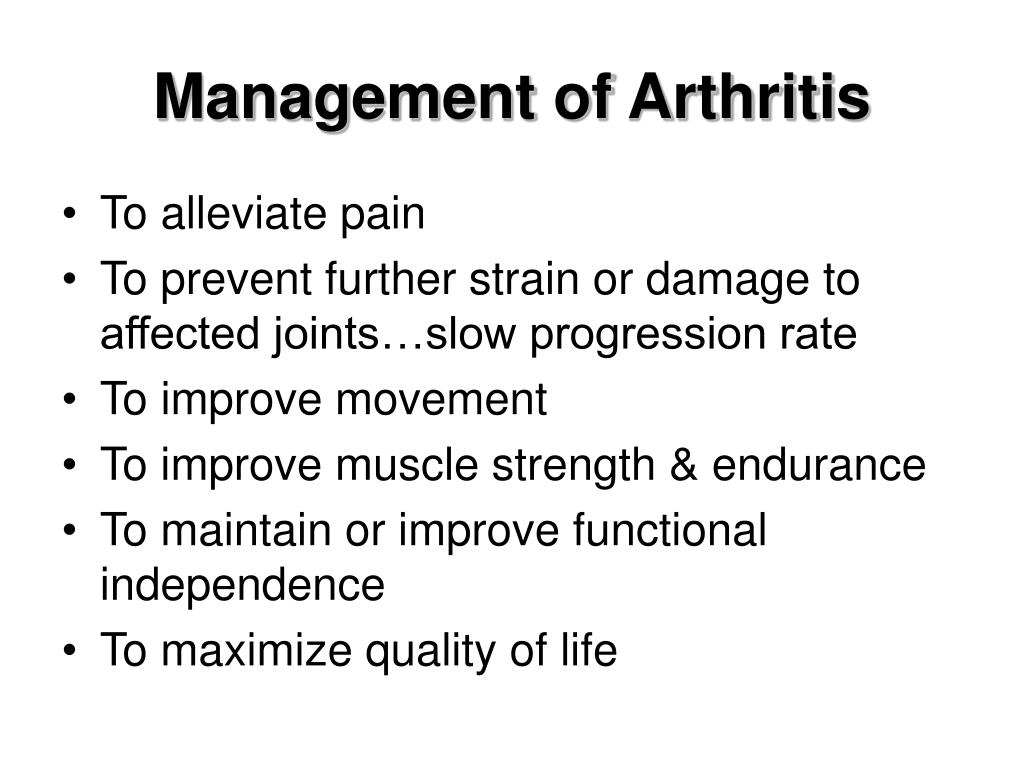Management of Arthritis