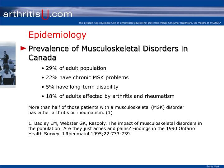 Prevalence of Musculoskeletal Disorders in Canada