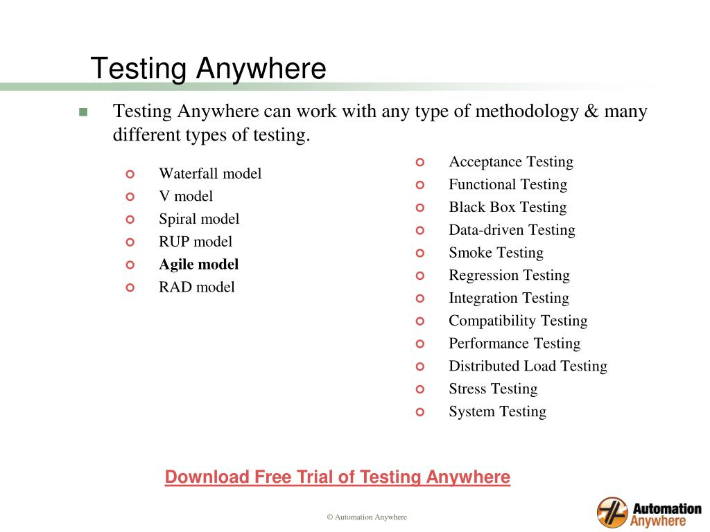 Testing Anywhere