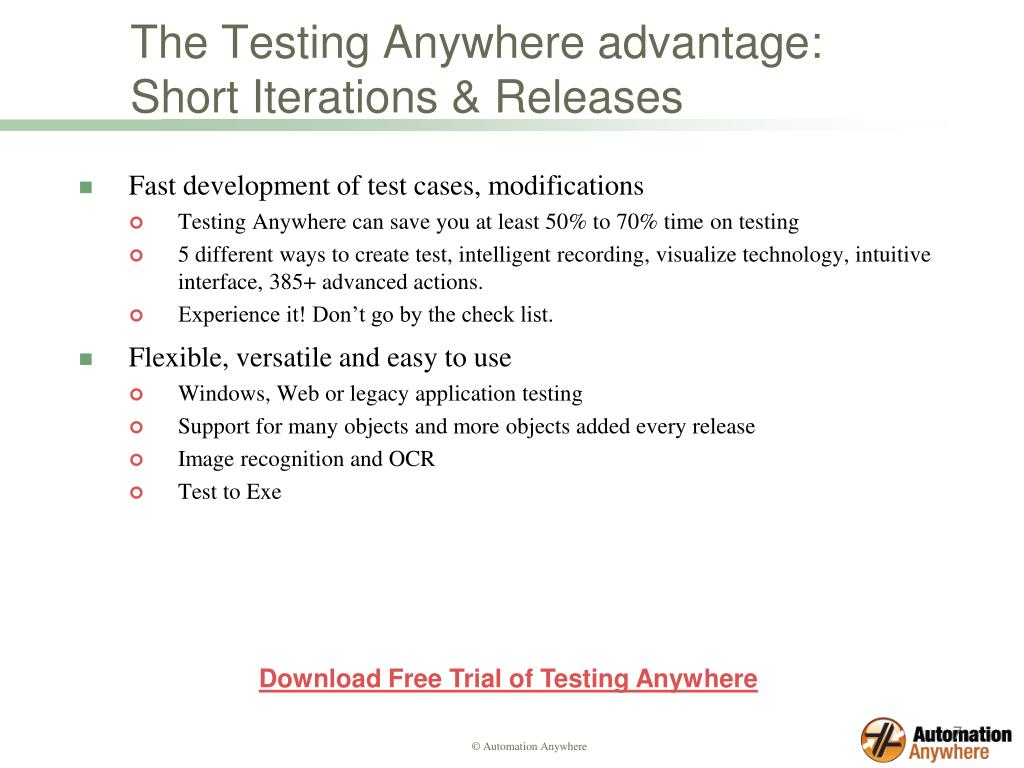 The Testing Anywhere advantage: