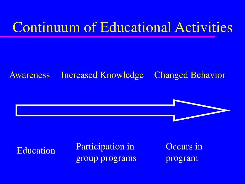 Continuum of Educational Activities