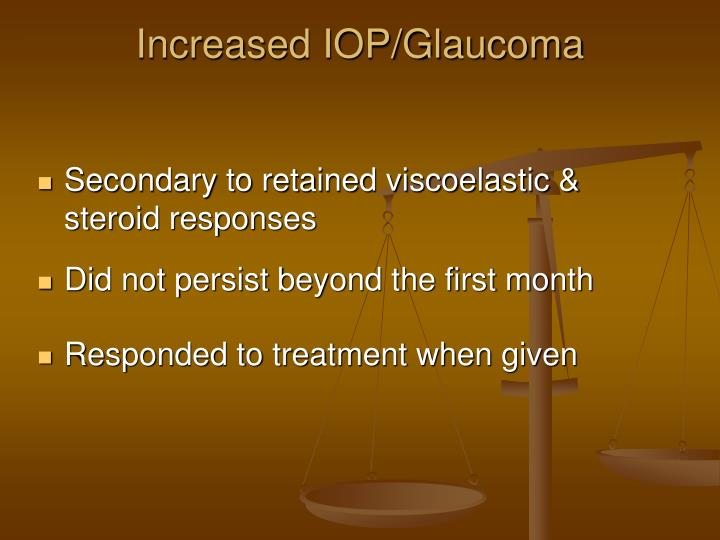 Increased IOP/Glaucoma