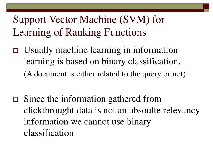 Support Vector Machine (SVM) for Learning of Ranking Functions
