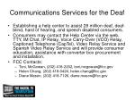 communications services for the deaf