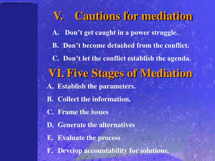 V.	Cautions for mediation