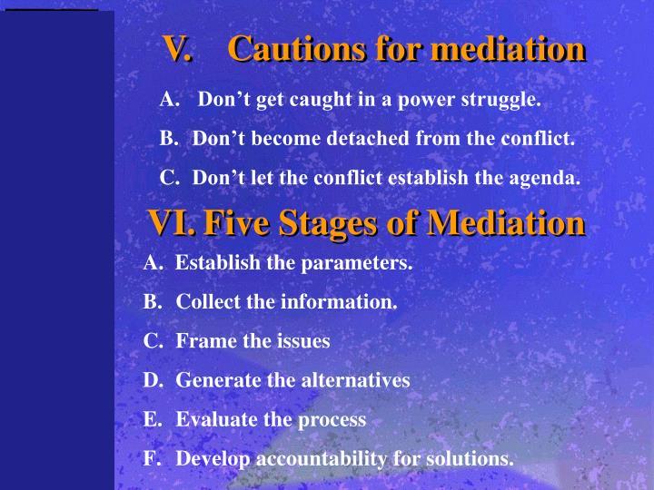 V.Cautions for mediation