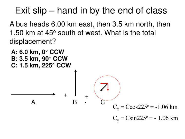 Exit slip – hand in by the end of class