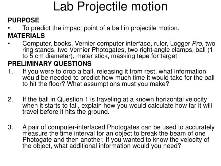 Lab Projectile motion