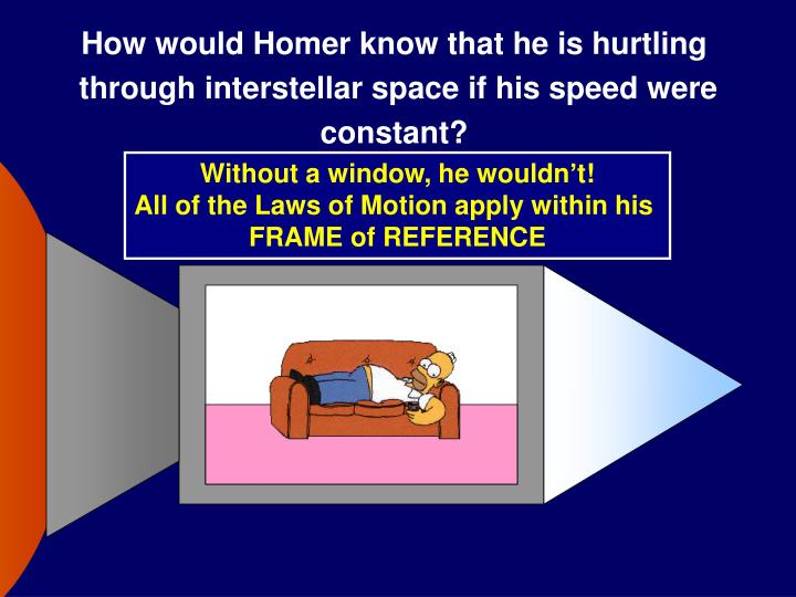 How would Homer know that he is hurtling