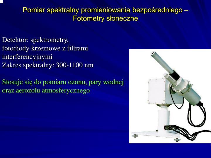 Pomiar spektralny promieniowania bezpośredniego – Fotometry słoneczne