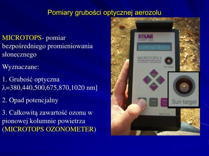 Pomiary grubości optycznej aerozolu