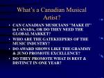 what s a canadian musical artist