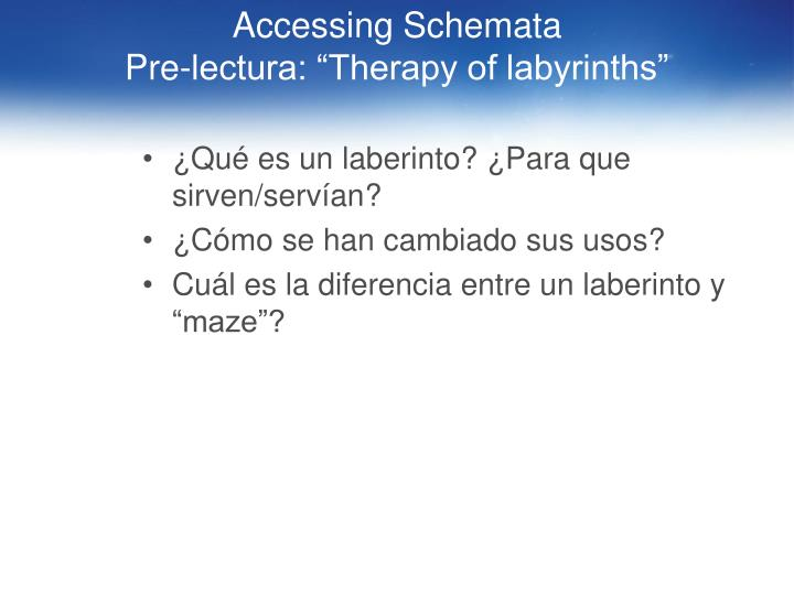 Accessing Schemata