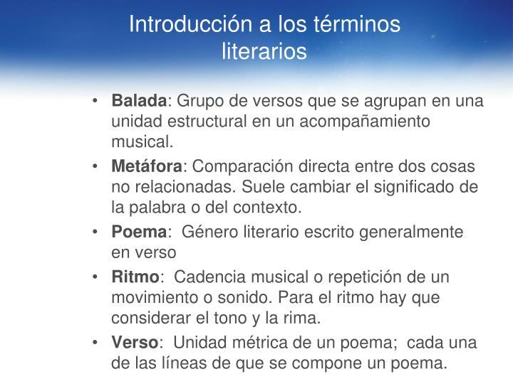 Introducción a los términos literarios
