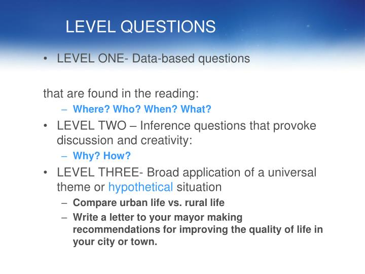 LEVEL QUESTIONS
