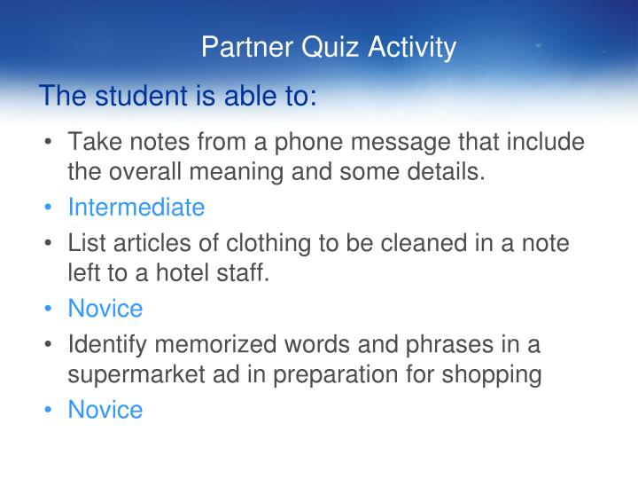 Partner Quiz Activity