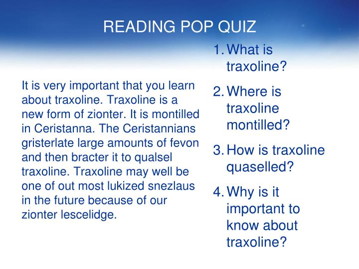 READING POP QUIZ