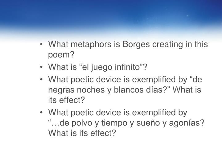 What metaphors is Borges creating in this poem?