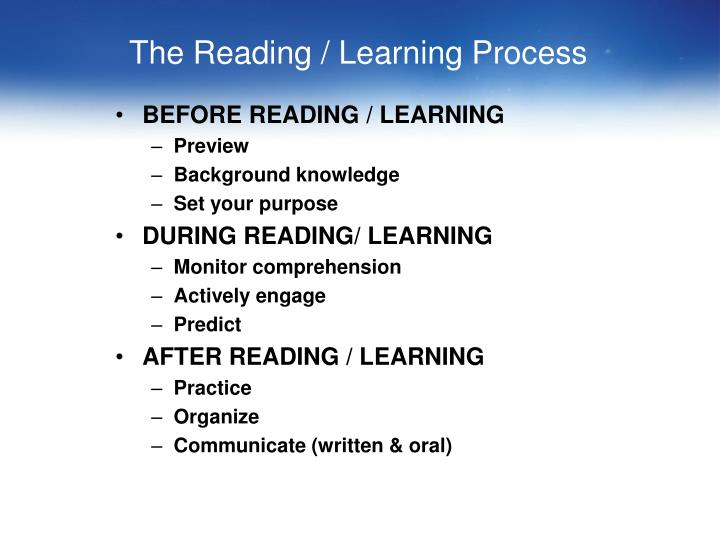 The Reading / Learning Process