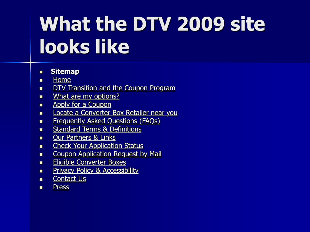 What the DTV 2009 site looks like