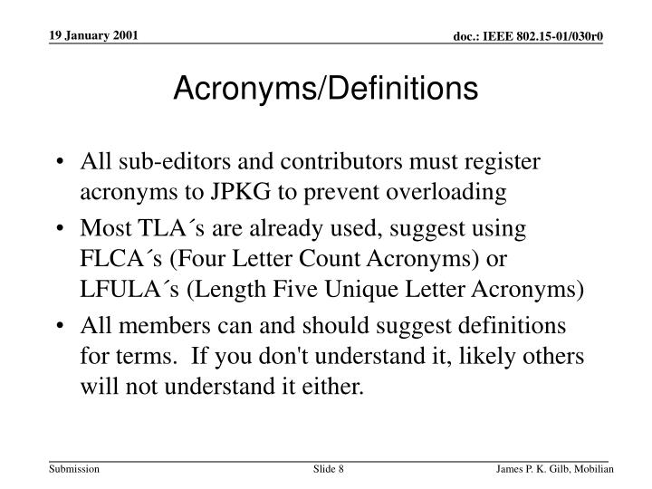 Acronyms/Definitions