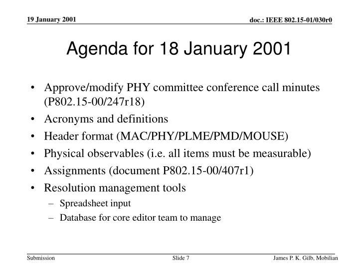 Agenda for 18 January 2001