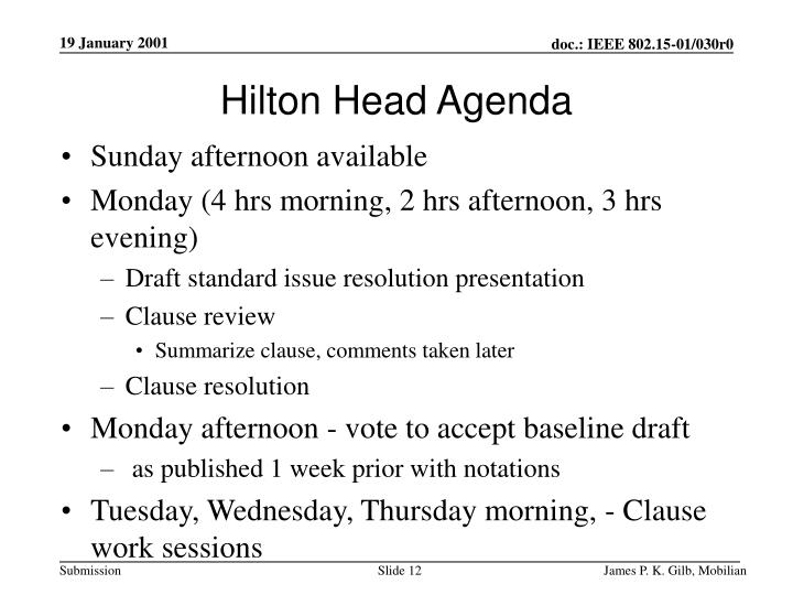 Hilton Head Agenda