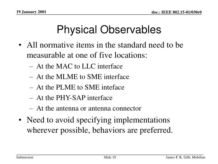 Physical Observables