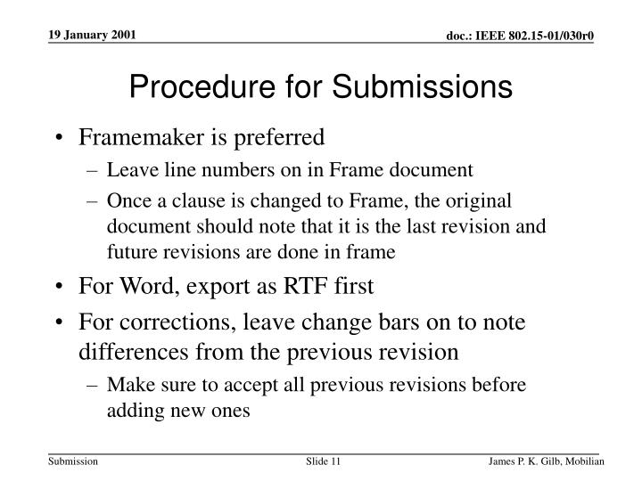Procedure for Submissions