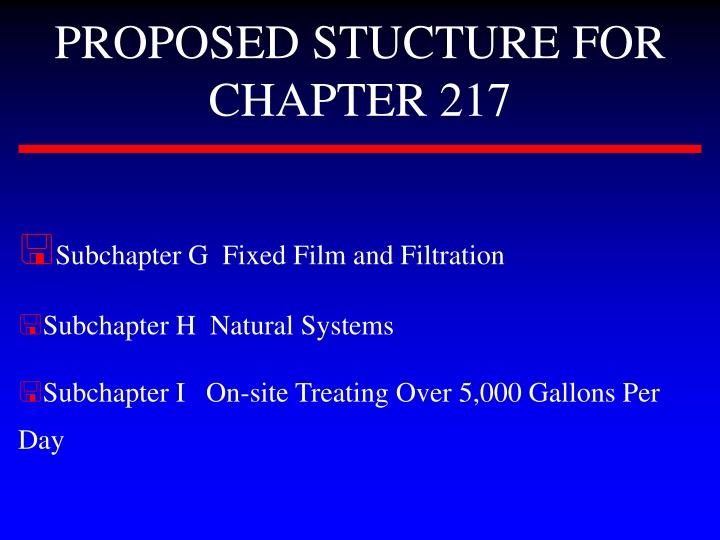 PROPOSED STUCTURE FOR CHAPTER 217
