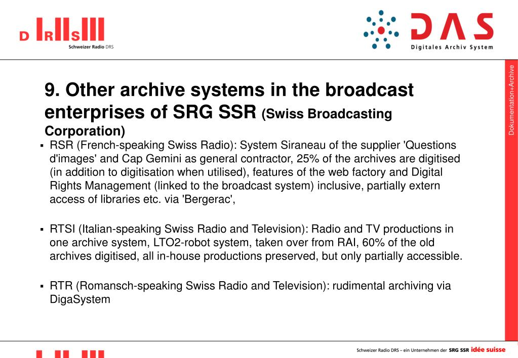 9. Other archive systems in the broadcast