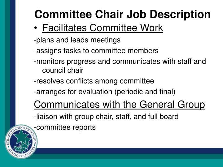 Committee Chair Job Description
