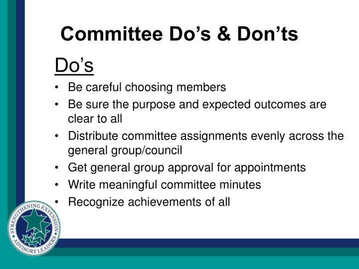 Committee Do's & Don'ts