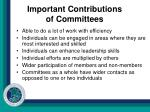 important contributions of committees