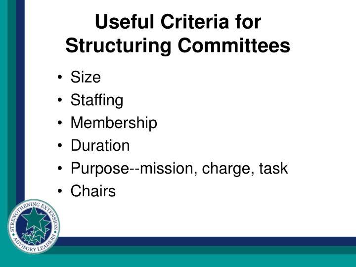 Useful Criteria for
