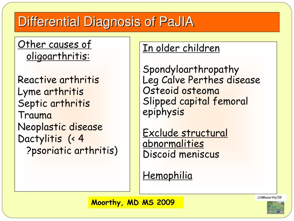 Differential Diagnosis of PaJIA