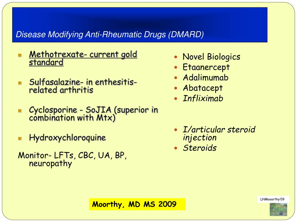 Disease Modifying Anti-Rheumatic Drugs (DMARD)