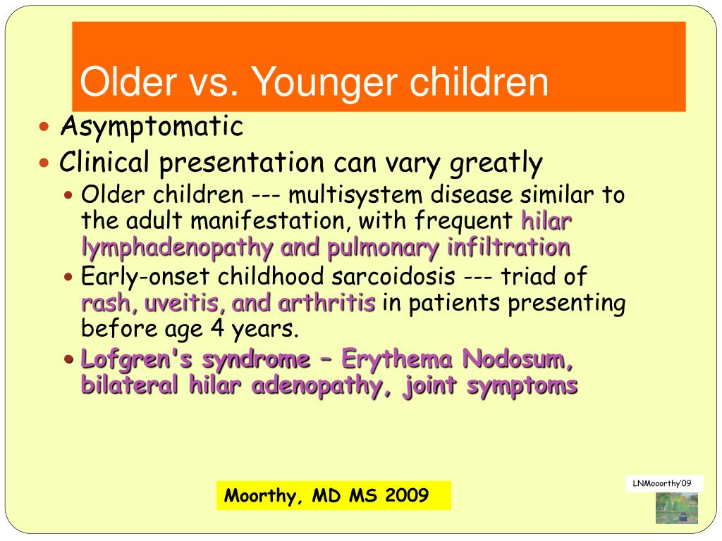 Older vs. Younger children