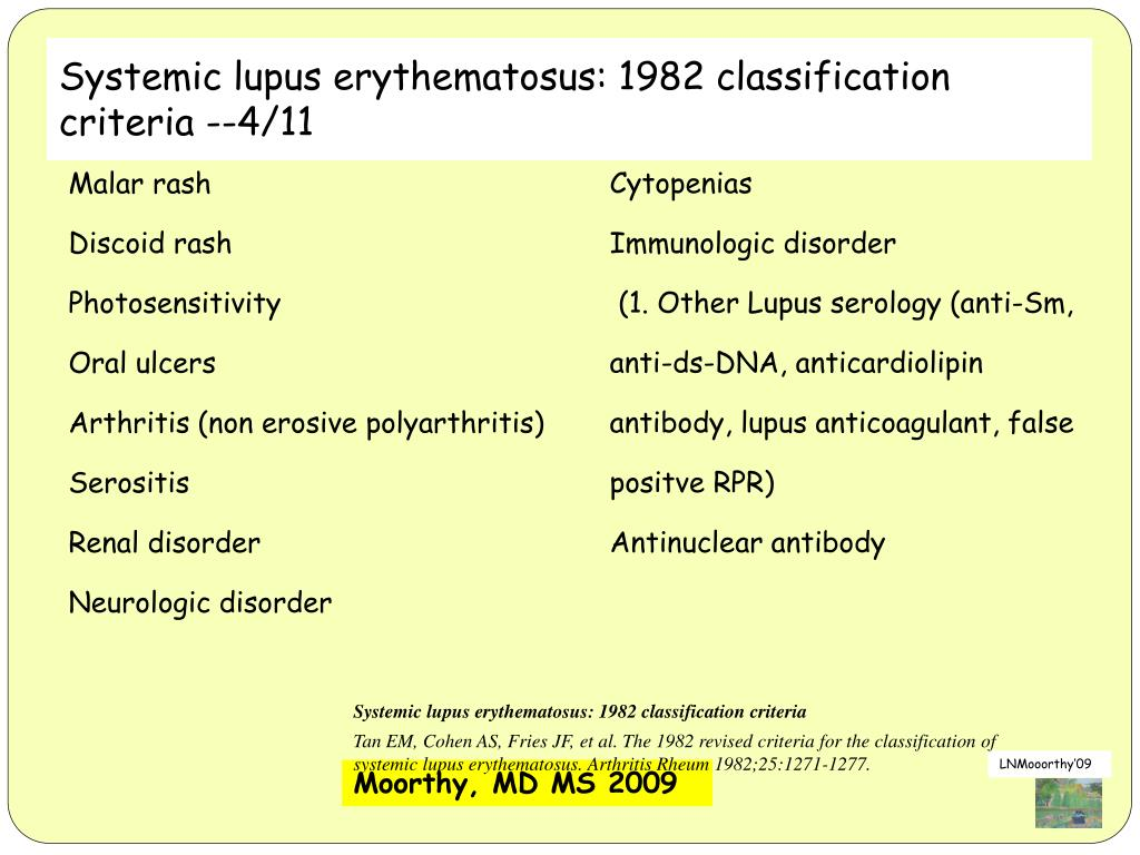 Systemic lupus erythematosus: 1982 classification criteria --4/11