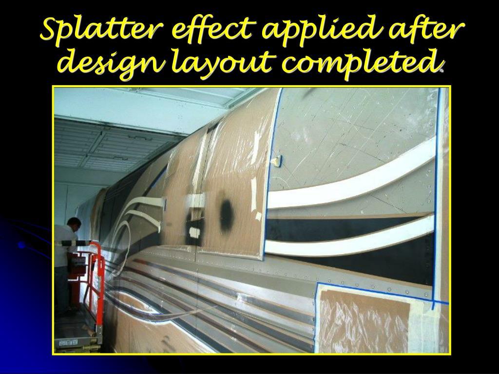 Splatter effect applied after design layout completed