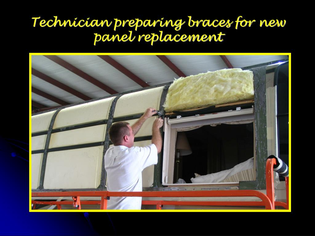 Technician preparing braces for new panel replacement