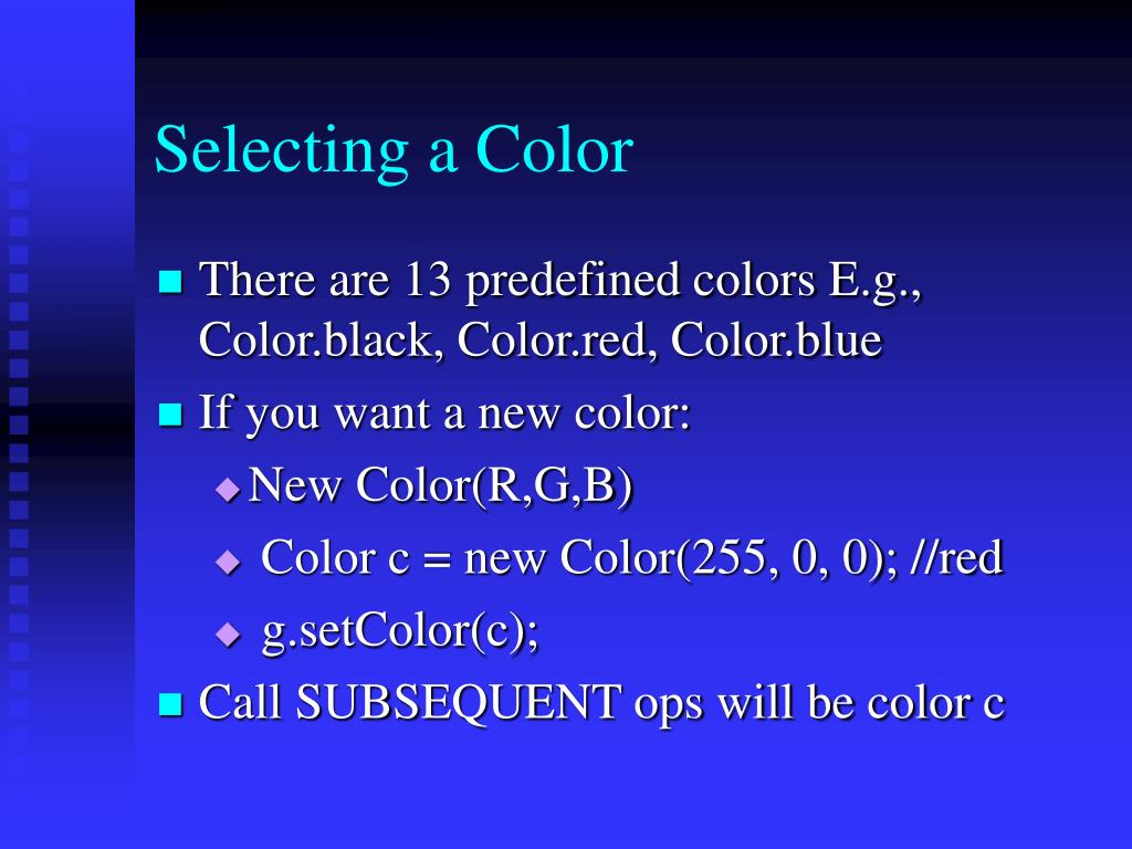 Selecting a Color
