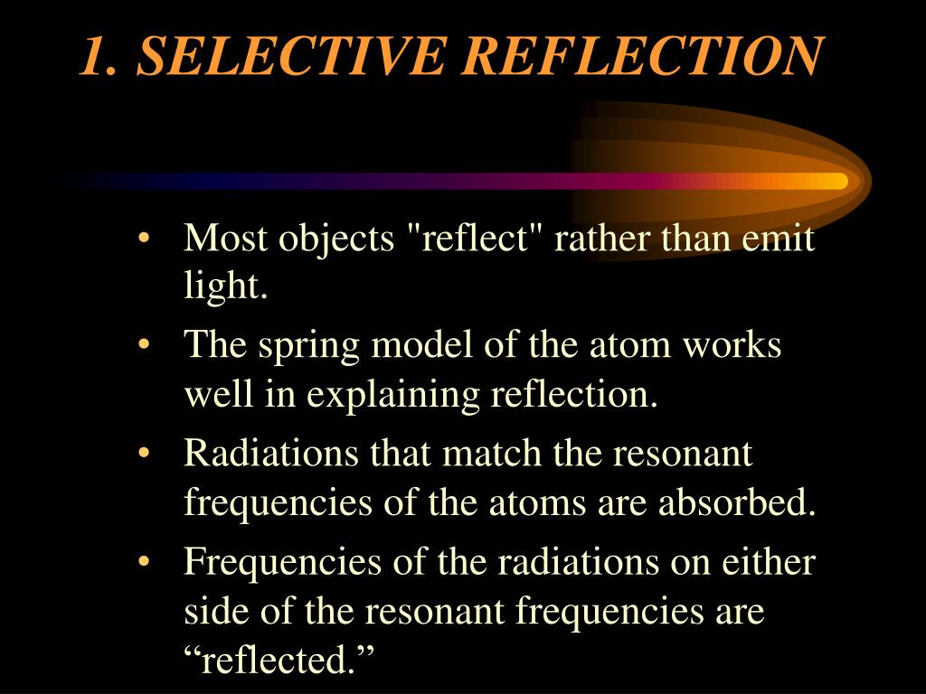 1.	SELECTIVE REFLECTION