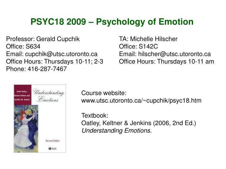 PSYC18 2009 – Psychology of Emotion
